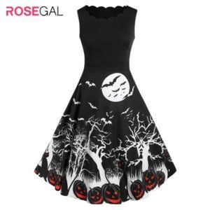 Rosegal Retro Pumpkin Bat Print Halloween Dress